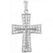 Doma Jewellery DJS03496 Sterling Silver (Rhodium Plated) Religious Pendant with CZ - 33.5mm Height and Extension Leather Necklace