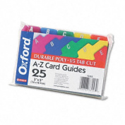 Oxford 73153 Card Guides- Alpha- 1/5 Tab- Polypropylene- 3 x 5- 25/Set