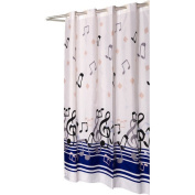 Carnation Home Fashions Ez On Grommet Blue Note Musical Fabric Shower Curtain
