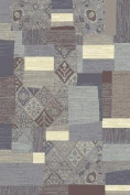 La Rug 4352-90 Palazzo 2 ft. x 8 ft. Runner Rug with Brown-Gray-Blue Square and Rectangular Shapes