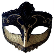 Costumes For All Occasions MR031436 Mardi Gras Eye Mask Black Gold