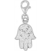 Doma Jewellery DJS01462 Sterling Silver and Crystal Charm - Hamsa