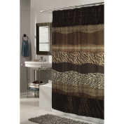 """Carnation Home Fashions """"Animal Instincts-Felina"""" Faux Fur Trimmed Shower Curtain, Packed with a PEVA Shower Liner, 180cm by 180cm"""