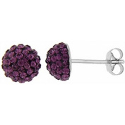 Doma Jewellery DJS01749 Sterling Silver Earrings with Purple Crystals - February Birthstone