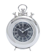 Woodland Import 27856 Nickel Plated Table Clock with Roman Numerals