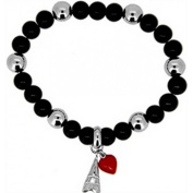 Doma Jewellery DJS01337 Sterling Silver and Black Onyx Bracelet with Eiffel Tower and Heart Charms - 8.28mm