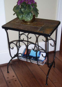 4D Concepts 601613 Magazine End Table with Slate Top - Metal/Slate