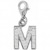 Doma Jewellery DJS01631 Sterling Silver and Crystal Initial Charm - M