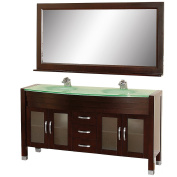 Wyhdham Collection WCV220063ESGR Daytona Espresso with Green Glass Top with Green Integral Sinks