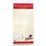 Party Dimensions 41257 140cm . x 270cm . Ivory Rectangular Plastic Tablecover - 48 Per Case