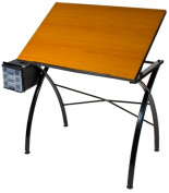 Martin Universal Design U-7500B Martin Dezign Line Drawing Table with 60cm x 90cm . Cherrywood Melamine Table and Work Side Trays