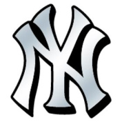 Caseys Distributing 8162053200 New York Yankees Silver Auto Emblem