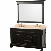 Wyhdham Collection WCVTD60BLIV Andover Antique Black with Ivory Marble Top with White Undermount Sinks