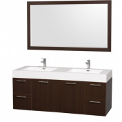 Wyhdham Collection WCR410060ESARDB Amare Espresso with Acrylic-Resin Top and Integrated sink