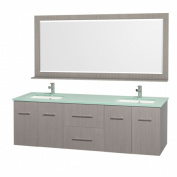Wyhdham Collection WCV00972GOGRDB Centra Grey Oak with Green Glass Top with Square Porcelain Undermount sinks