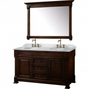 Wyhdham Collection WCVTD60DCHCW Andover Dark Cherry with White Carrera Marble Top with White Undermount Sinks