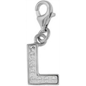 Doma Jewellery DJS01630 Sterling Silver and Crystal Initial Charm - L