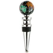Alexander Kalifano WBS30BS-BO Gemstone Globe Bright Silver Bottle Stopper - Black Opal Ocean