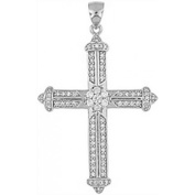 Doma Jewellery DJS03493 Sterling Silver (Rhodium Plated) Religious Pendant with CZ - 50mm Height and Extension Leather Necklace