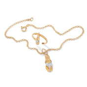 PalmBeach Jewelry 44671 Diamond Accent 18k Yellow Gold Over Sterling Silver 9 Flip-Flop Ankle Bracelet and Toe Ring Set