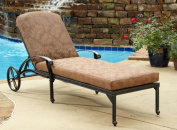 Floral Blossom Patio Chaise Lounge with Burnt Sierra Leaf Cushion