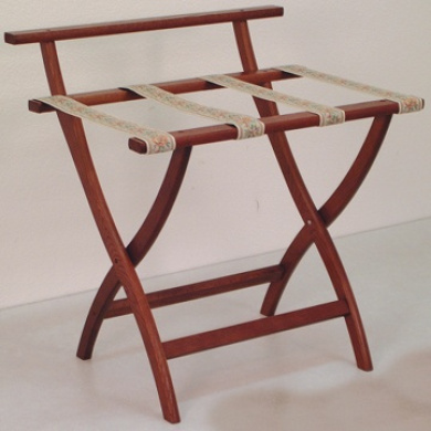 Wooden Mallet LR4-MHTAP WallSaver Luggage Rack in Mahogany with Tapestry Webbing