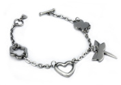 EWC B33040 Stainless Steel Multiple Charm Toggle Bracelet