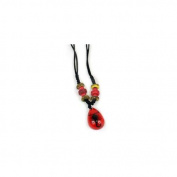 Ed Speldy East NEK101 Beaded Necklace - Black Scorpion with Red Background