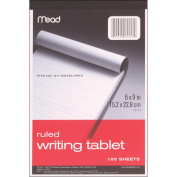 Writing Tablet 15cm x 23cm 100 Sheets/Pad-Ruled White