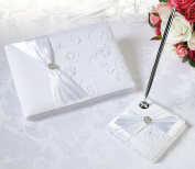 Lillian Rose GB385 W White Lace Gbook&Pen Set