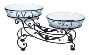 Benzara 68524 23 in. W x 11 in. H Glass Metal Double Bowl