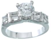 Plutus kkr5186c 925 Sterling Silver Platinum Finish Brilliant Solitaire Engagement Ring Size 8