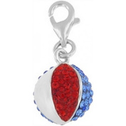 Doma Jewellery DJS01546 Sterling Silver and Crystal Charm - Beach Ball
