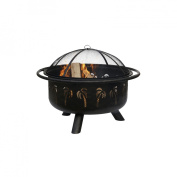 Uniflame WAD850SP 32in Wide Oil Rubbed Bronze Firebowl With Palm Tree Design