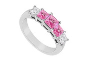 FineJewelryVault UBJ1587W14DPS-101 Pink Sapphire and Diamond Wdding Band : 14K White Gold - 1..00 CT TGW - Size