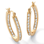 PalmBeach Jewelry 49456 2.52 TCW Round Cubic Zirconia 14k Gold-Plated Inside-Out Hoop Earrings