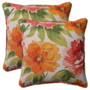 Pillow Perfect 503202 Outdoor Primro Corded 18.5-Inch Throw Pillow in Orange - Set of 2 - Orange-Red-Green