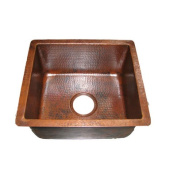 Premier Copper Products BREC16DB 40.6cm . x 35.6cm . Gourmet Rectangular Hammered Copper Bar-Prep Sink with 8.9cm . Drain