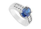 FineJewelryVault UBUK11697W10CZS-118 Diffuse Sapphire and Cubic Zirconia Ring : 10K White Gold - 3.00 CT TGW - Size