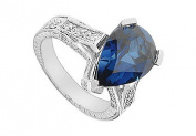FineJewelryVault UBUK1113W10CZS-118 Diffuse Sapphire and Cubic Zirconia Ring : 10K White Gold - 5.50 CT TGW - Size