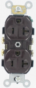 Leviton Mfg S00-0CR20-0 Brown Commercial Grade Straight Blade Duplex Receptacle