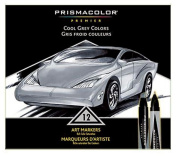 Prismacolor Premier Double-Ended Art Markers, Fine and Chisel Tip, Cool Grey, 12-Count