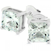 J Goodin E01308S-S01 White Gold Rhodium Bonded .925 Sterling Silver Princess Cut Clear Studs 7mm Round CZ Earrings in Silvertone