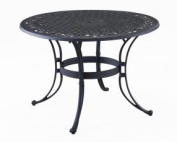 Home Style 5554-32 Biscayne Round Outdoor Dining Table, Black Finish, 120cm