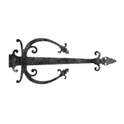 70cm Rough Forged Iron Dummy Hinge Strap With Fancy Warwick Banjo Shape. Antique Door Hinges.