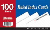 Bazic 516- 36 100 Ct. 7.6cm . x 13cm . Ruled White Index Card- Pack of 36