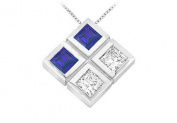FineJewelryVault UBPD2521W14DS-101 Blue Sapphire and Diamond Pendant : 14K White Gold - 1.00 CT TGW