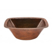 Premier Copper Products LRECDB 15 in. Rectangle Hammered Copper Bathroom Sink