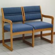 Wooden Mallet DW2-2MOPB Valley Two Seat Sofa in Medium Oak - Powder Blue