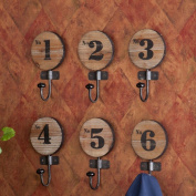 Southern Enterprises Decorative 6 Piece Wooden Numbered Hook Set